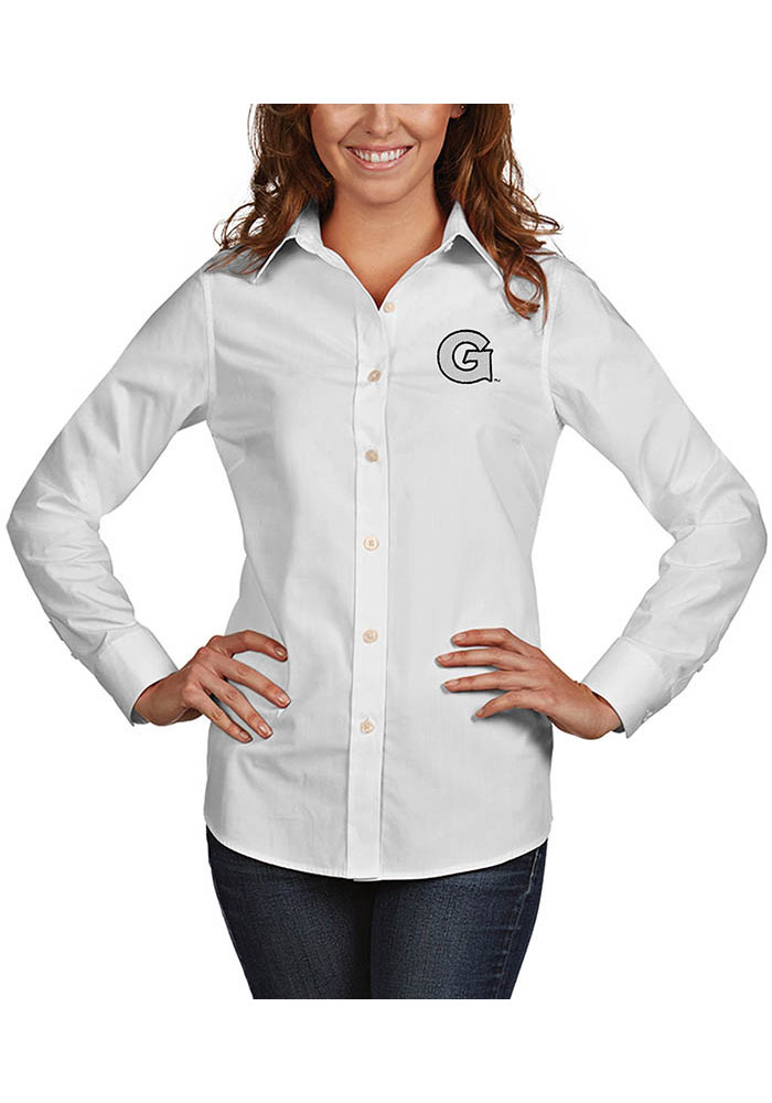 Antigua Georgetown Hoyas Womens Dynasty Long Sleeve White Dress Shirt - Image 1