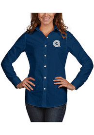 Georgetown Hoyas Womens Antigua Dynasty Dress Shirt - Navy Blue