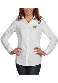 GA Tech Yellow Jackets Womens Antigua Dynasty Dress Shirt - White