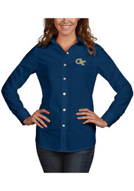 GA Tech Yellow Jackets Womens Antigua Dynasty Dress Shirt - Navy Blue
