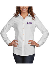 LSU Tigers Womens Antigua Dynasty Dress Shirt - White