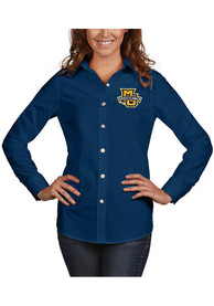 Marquette Golden Eagles Womens Antigua Dynasty Dress Shirt - Navy Blue