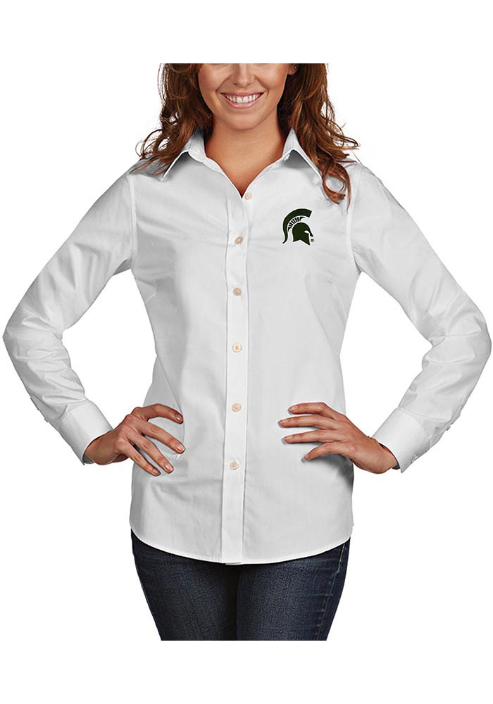 Antigua Michigan State Spartans Womens Dynasty Long Sleeve White Dress Shirt - Image 1