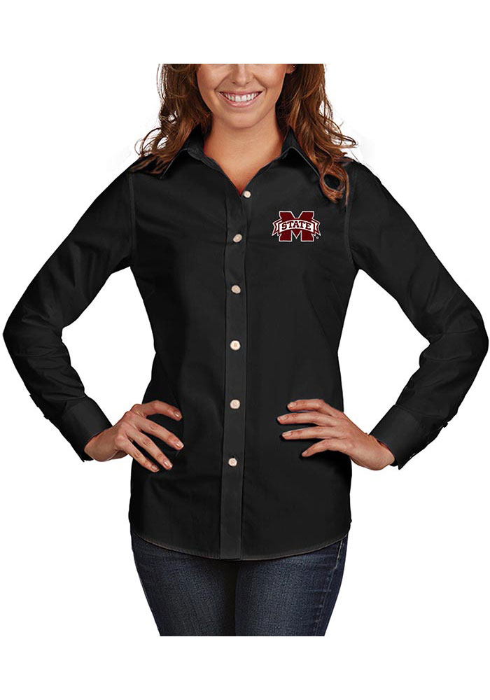 Antigua Mississippi State Bulldogs Womens Dynasty Long Sleeve Black Dress Shirt - Image 1