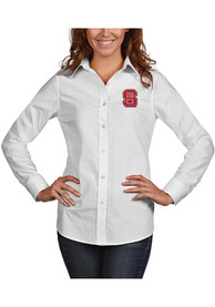 NC State Wolfpack Womens Antigua Dynasty Dress Shirt - White