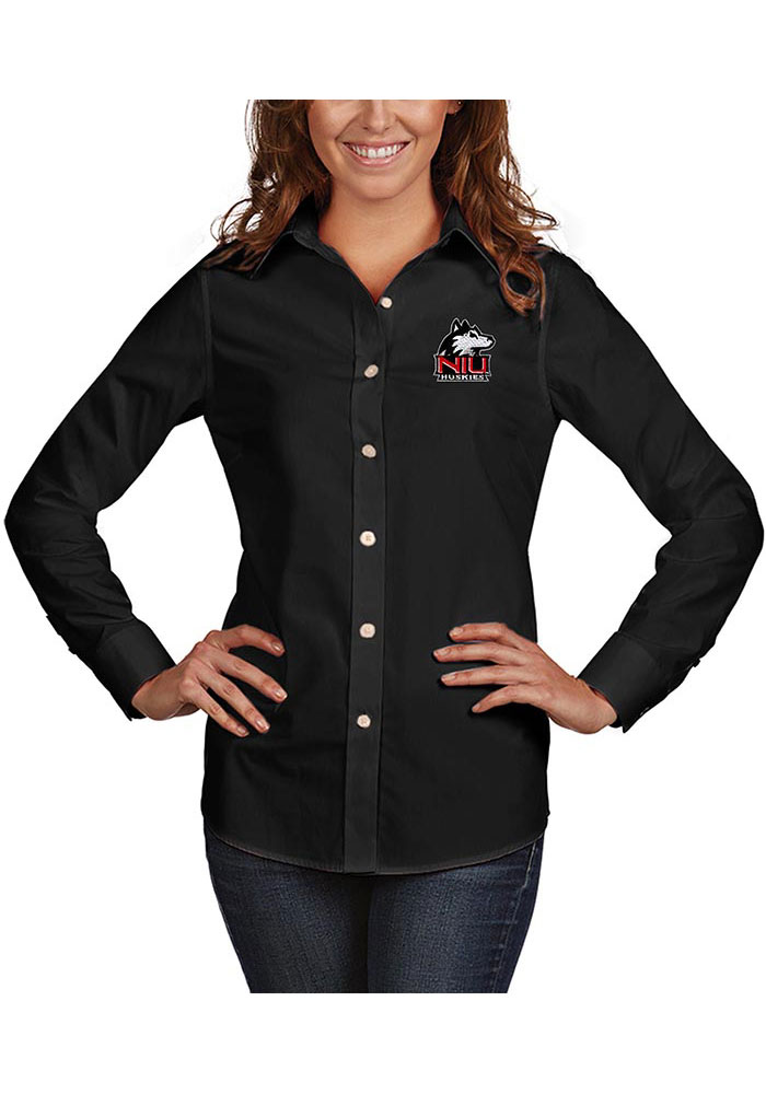 Antigua Northern Illinois Huskies Womens Dynasty Long Sleeve Black Dress Shirt - Image 1