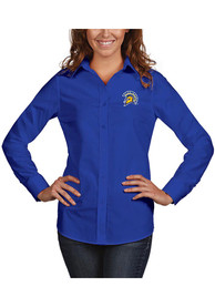 San Jose State Spartans Womens Antigua Dynasty Dress Shirt - Blue
