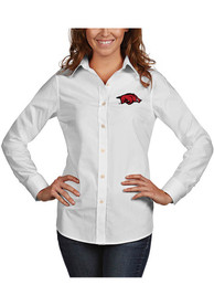Arkansas Razorbacks Womens Antigua Dynasty Dress Shirt - White