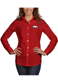 Arkansas Razorbacks Womens Antigua Dynasty Dress Shirt - Red
