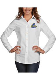 Delaware Fightin' Blue Hens Womens Antigua Dynasty Dress Shirt - White