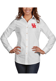 Houston Cougars Womens Antigua Dynasty Dress Shirt - White