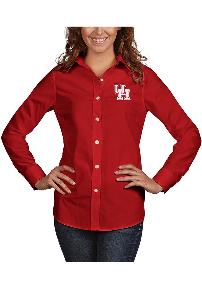 Antigua Houston Cougars Womens Dynasty Long Sleeve Red Dress Shirt - Image 1