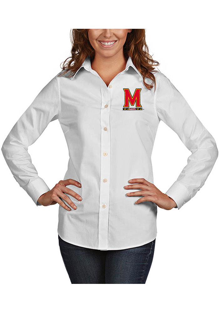 Antigua Maryland Terrapins Womens Dynasty Long Sleeve White Dress Shirt - Image 1