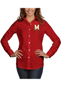 Maryland Terrapins Womens Antigua Dynasty Dress Shirt - Red
