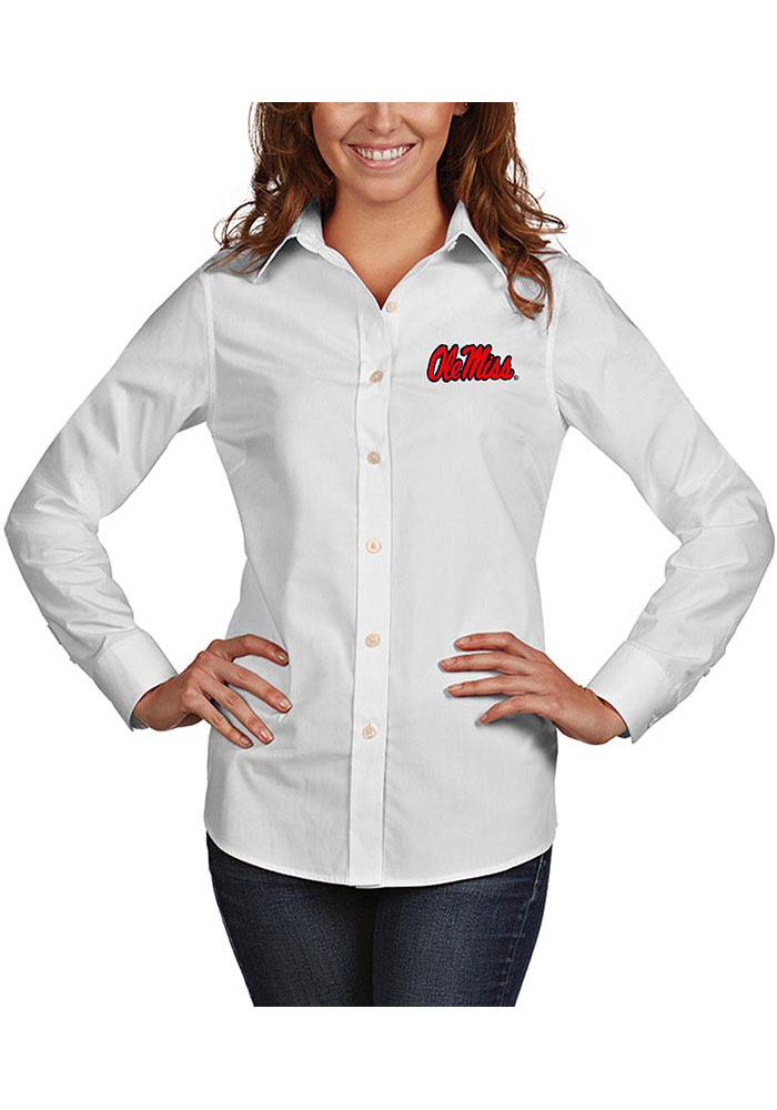 Antigua Ole Miss Rebels Womens Dynasty Long Sleeve White Dress Shirt - Image 1