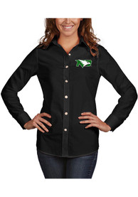 North Dakota Fighting Hawks Womens Antigua Dynasty Dress Shirt - Black