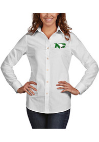 North Dakota Fighting Hawks Womens Antigua Dynasty Dress Shirt - White