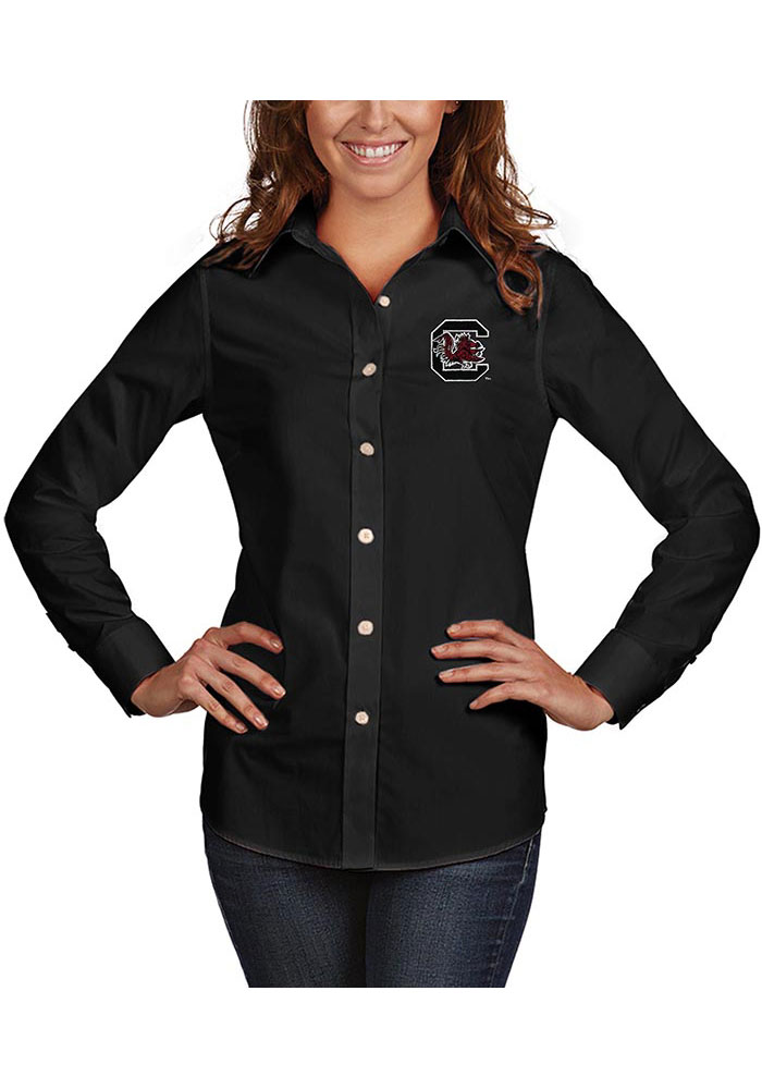 Antigua South Carolina Gamecocks Womens Dynasty Long Sleeve Black Dress Shirt - Image 1