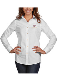 Virginia Tech Hokies Womens Antigua Dynasty Dress Shirt - White