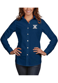Xavier Musketeers Womens Antigua Dynasty Dress Shirt - Navy Blue