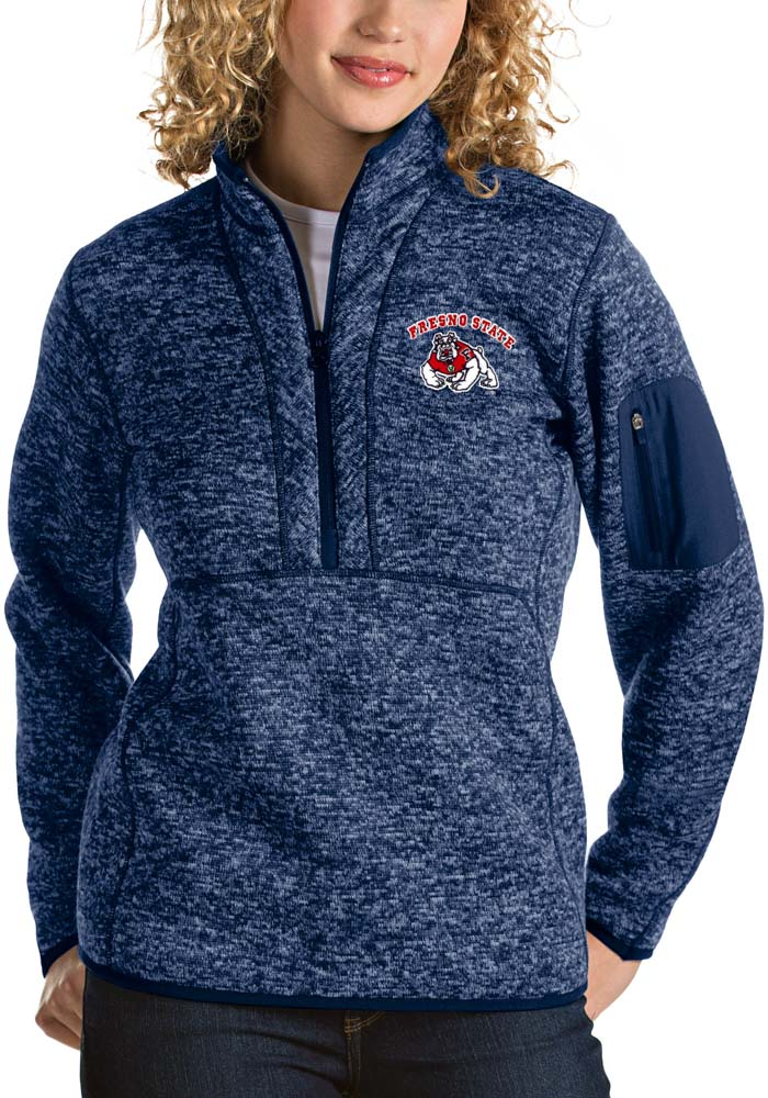 Antigua Fresno State Bulldogs Womens Navy Blue Fortune 1/4 Zip Pullover - Image 1