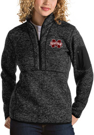 Antigua Mississippi State Bulldogs Womens Fortune Black 1/4 Zip Pullover
