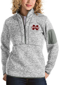 Antigua Mississippi State Bulldogs Womens Fortune Grey 1/4 Zip Pullover