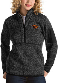 Oregon State Beavers Womens Antigua Fortune 1/4 Zip Pullover - Black