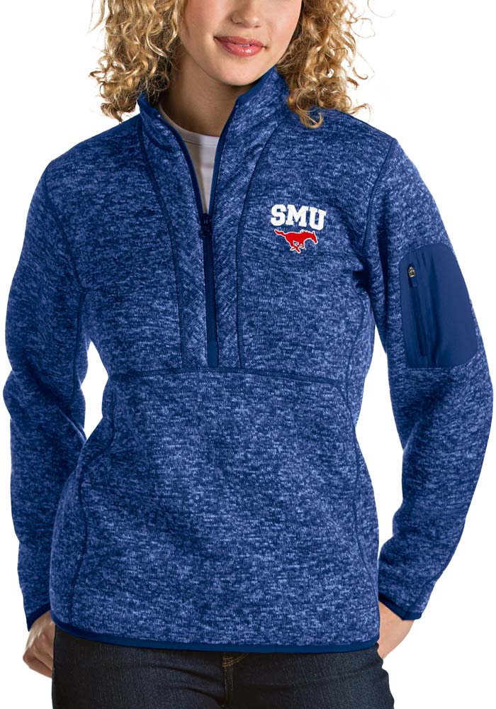 Antigua SMU Mustangs Womens Blue Fortune 1/4 Zip Pullover - Image 1