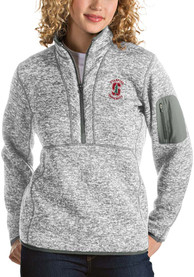 Stanford Cardinal Womens Antigua Fortune 1/4 Zip Pullover - Grey