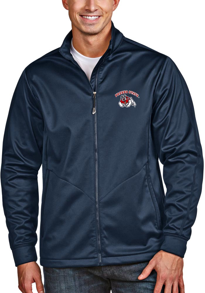 Antigua Fresno State Bulldogs Mens Navy Blue Golf Light Weight Jacket - Image 1