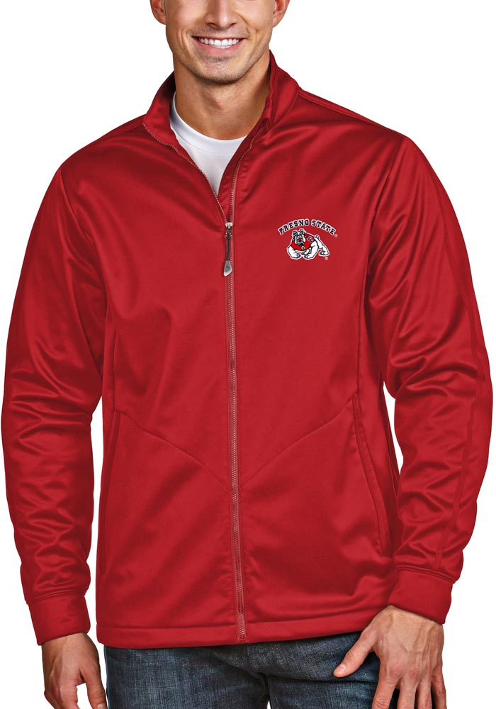 Antigua Fresno State Bulldogs Mens Red Golf Light Weight Jacket - Image 1
