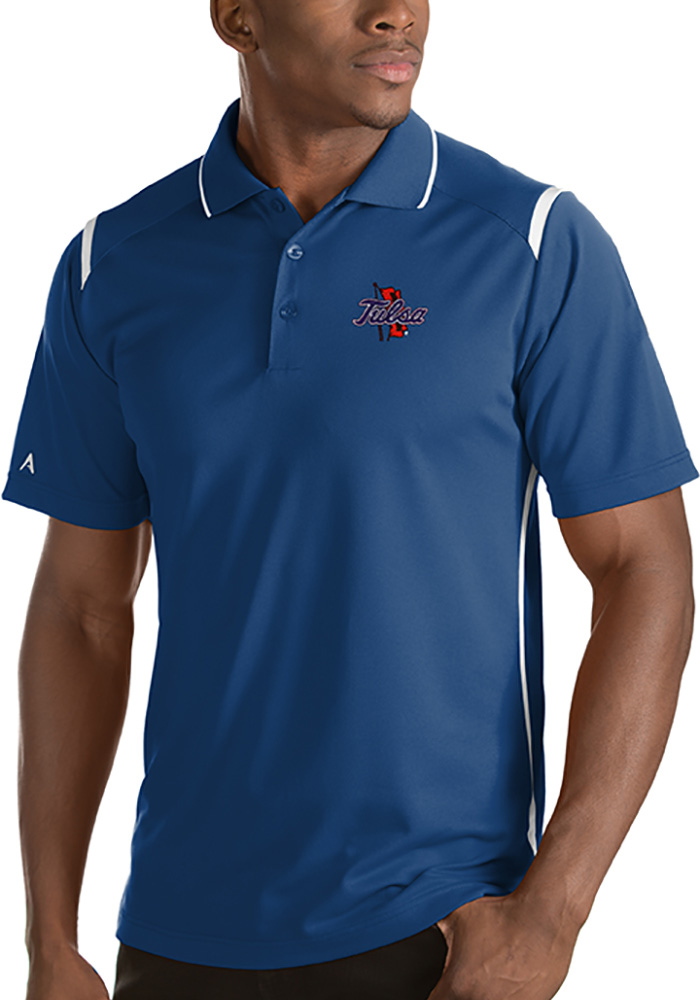 Antigua Tulsa Golden Hurricanes Mens Blue Merit Short Sleeve Polo - Image 1