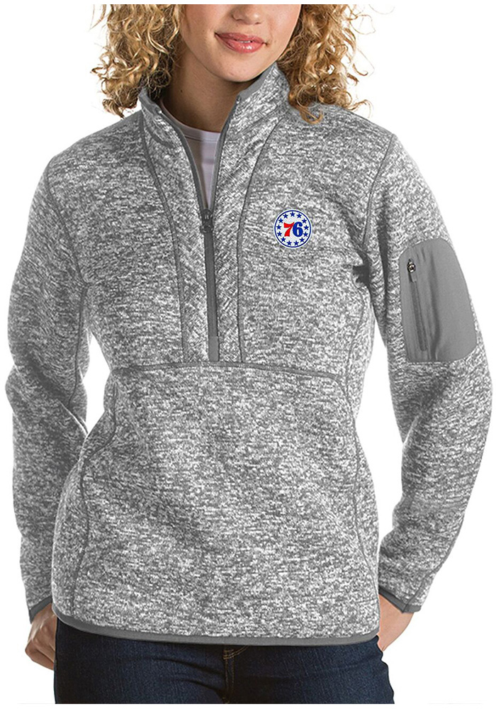 380598ab6 Antigua Philadelphia 76ers Womens Fortune Grey 1 4 Zip Pullover