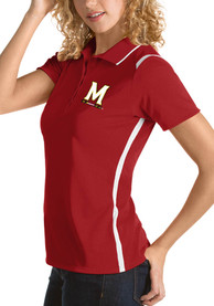 Maryland Terrapins Womens Antigua Merit Polo Shirt - Red