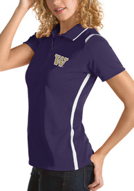 Washington Huskies Womens Antigua Merit Polo Shirt - Purple