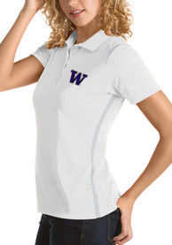 Washington Huskies Womens Antigua Merit Polo Shirt - White