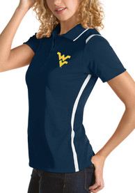 West Virginia Mountaineers Womens Antigua Merit Polo Shirt - Navy Blue