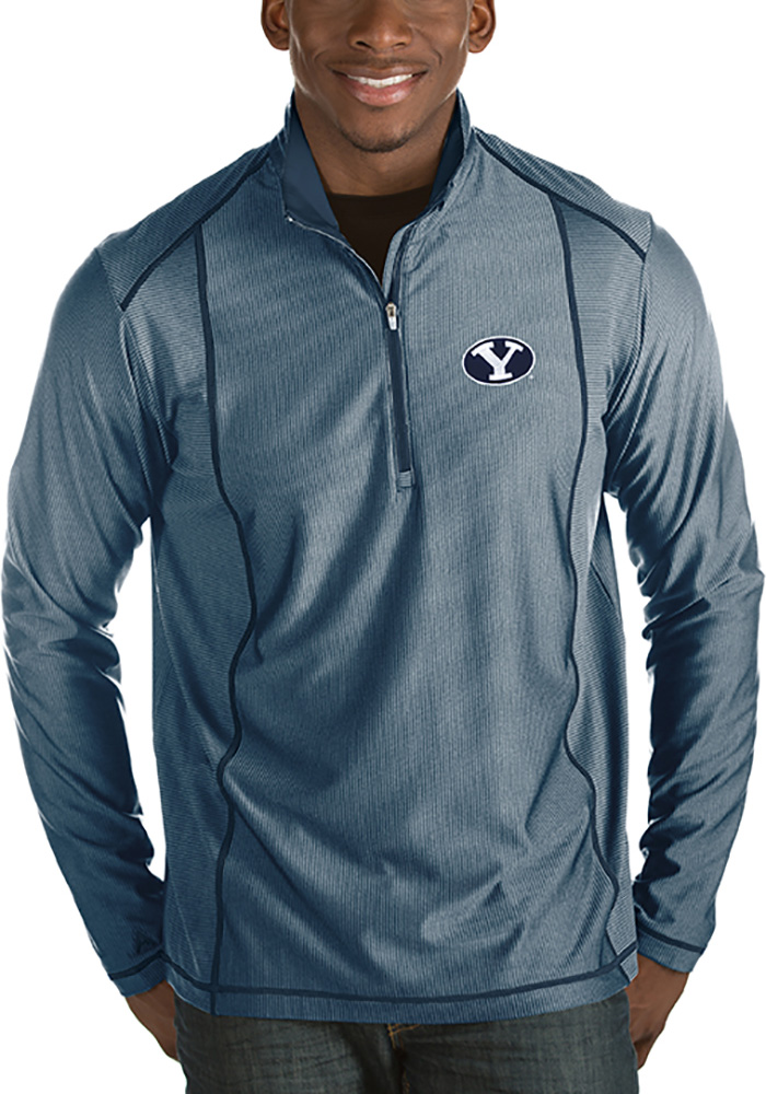 Antigua BYU Cougars Mens Navy Blue Tempo Long Sleeve 1/4 Zip Pullover - Image 1