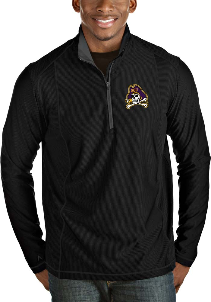 East Carolina Pirates Mens Black Tempo Long Sleeve 1/4 Zip Pullover - Image 1