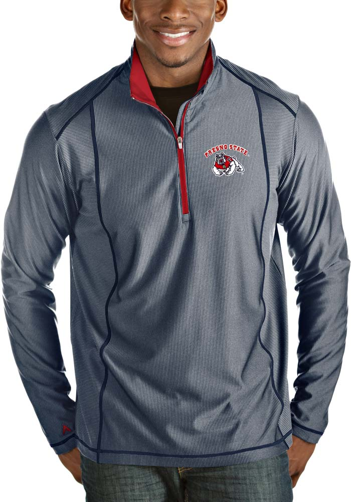 Antigua Fresno State Bulldogs Mens Navy Blue Tempo Long Sleeve 1/4 Zip Pullover - Image 1