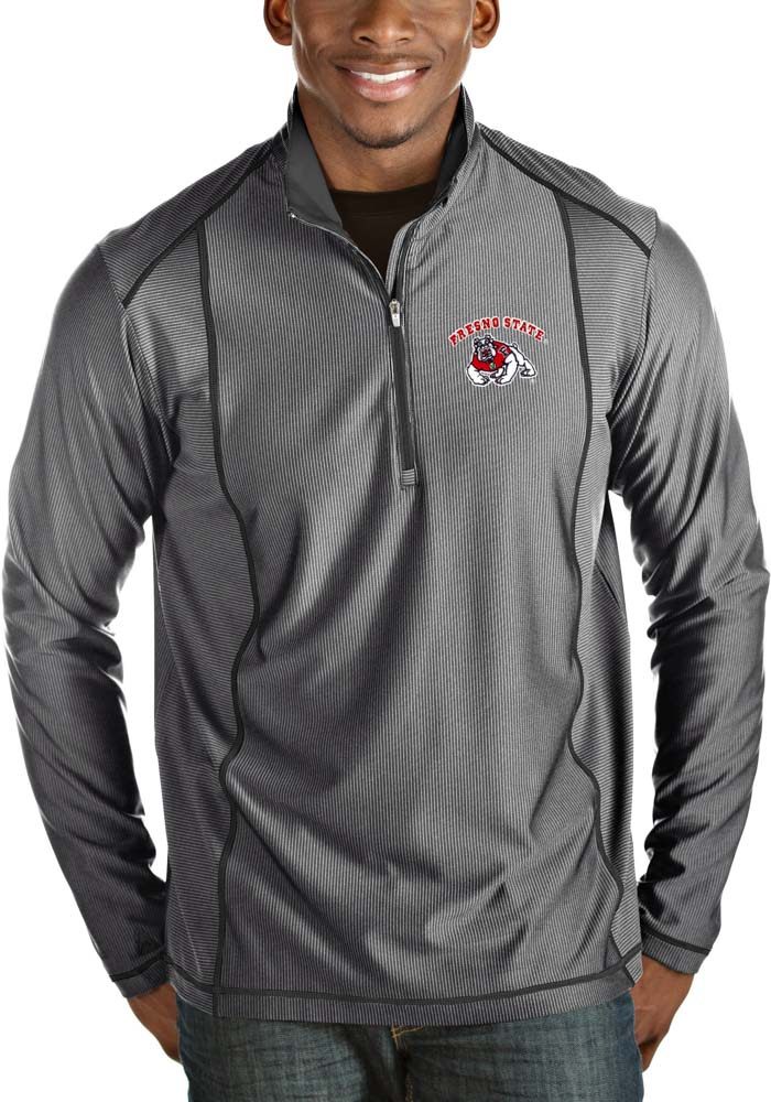 Antigua Fresno State Bulldogs Mens Grey Tempo Long Sleeve 1/4 Zip Pullover - Image 1