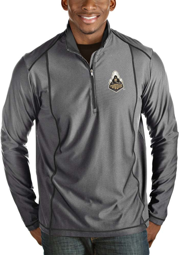 Antigua Purdue Boilermakers Mens Grey Tempo Long Sleeve 1/4 Zip Pullover - Image 1