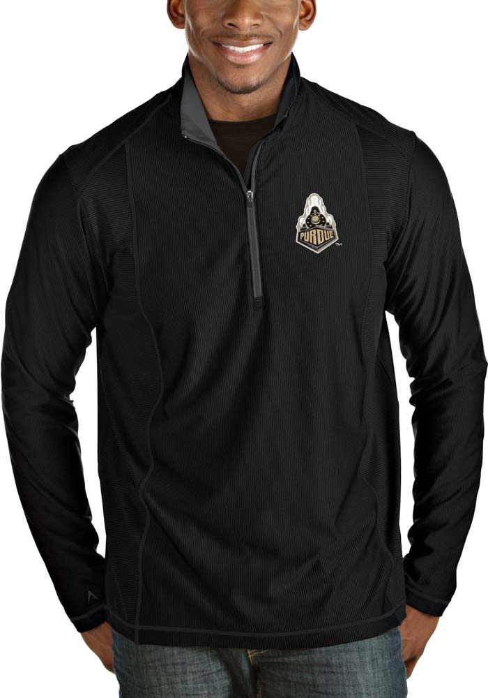 Antigua Purdue Boilermakers Mens Black Tempo Long Sleeve 1/4 Zip Pullover - Image 1