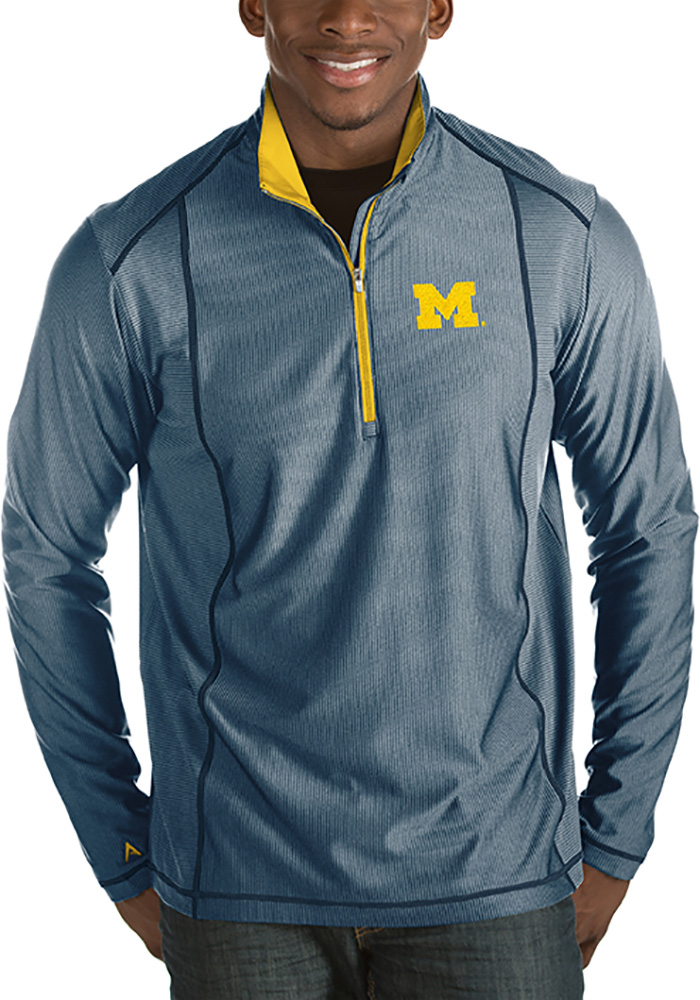Michigan Wolverines Mens Navy Blue Tempo Long Sleeve 1/4 Zip Pullover - Image 1