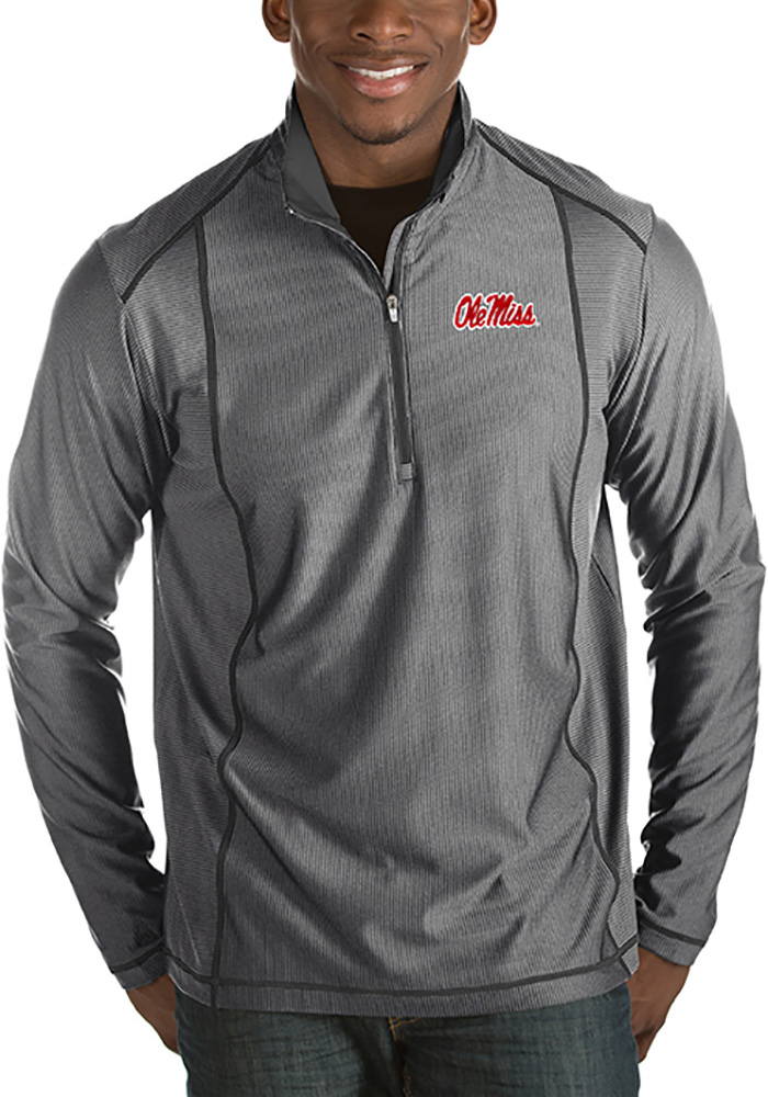Ole Miss Rebels Antigua Tempo 1/4 Zip Pullover - Grey