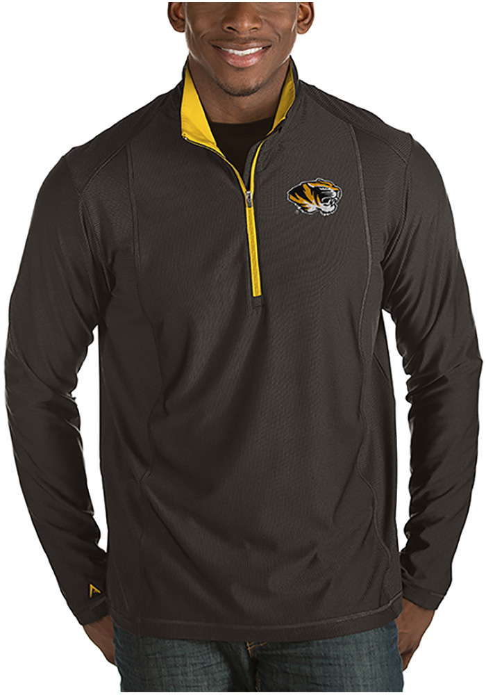 Antigua Missouri Tigers Mens Black Tempo Long Sleeve 1/4 Zip Pullover - Image 1