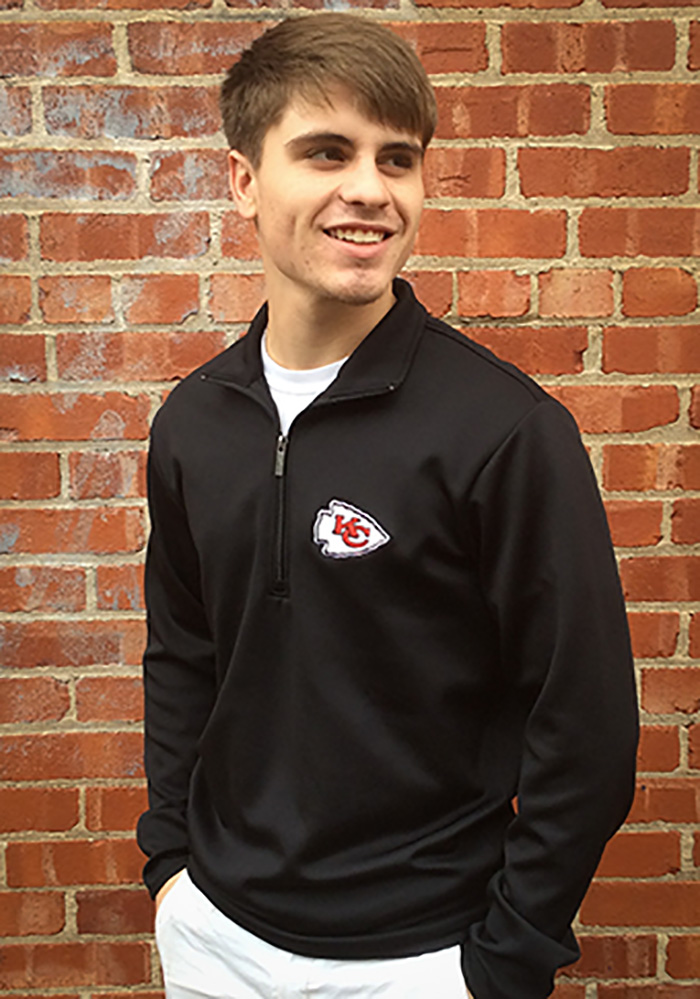 Antigua Kansas City Chiefs Mens Black Leader Long Sleeve 1/4 Zip Pullover - Image 2