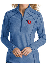 Antigua Dayton Flyers Womens Tempo Blue 1/4 Zip Pullover