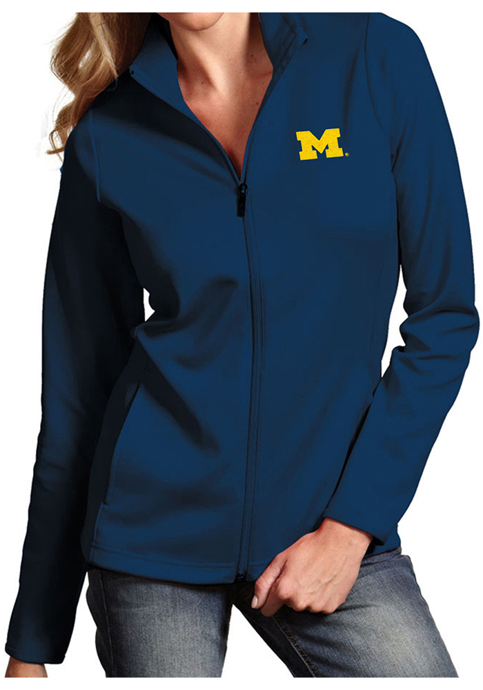 c72406946cdc7b Antigua Michigan Wolverines Womens Navy Blue Leader Light Weight Jacket